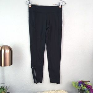 Athleta running legging tight reflective zip ankle